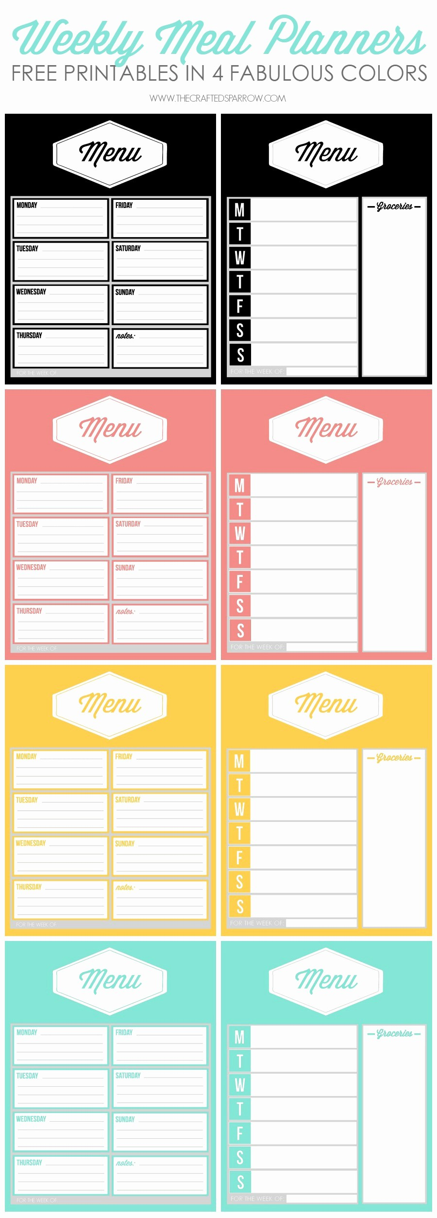 Weekly Meal Planner Templates Free Fresh Free Printable Weekly Meal Planners