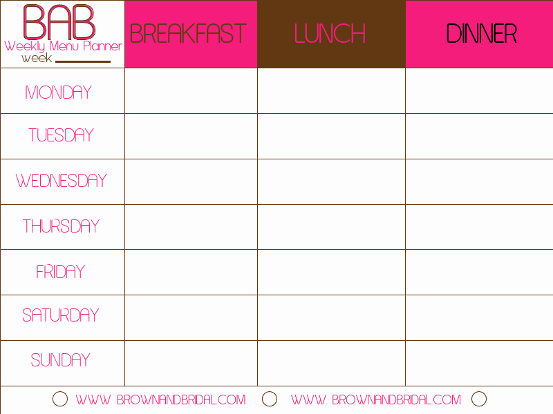 Weekly Meal Planner Templates Free Lovely Weekly Menu Template