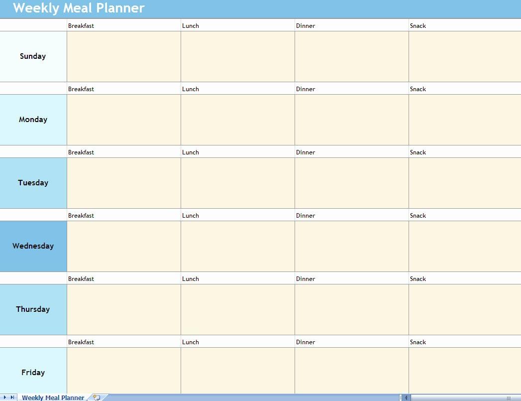 Weekly Meal Planner Templates Free Luxury Weekly Meal Planner Excel Spreadsheet