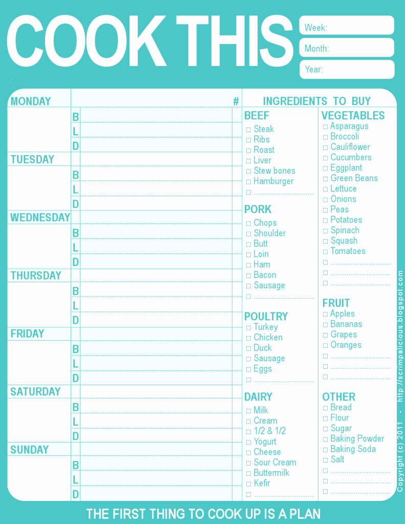 Weekly Meal Planner Templates Free New the Creative Cubby Pinspiration Friday New Year organization