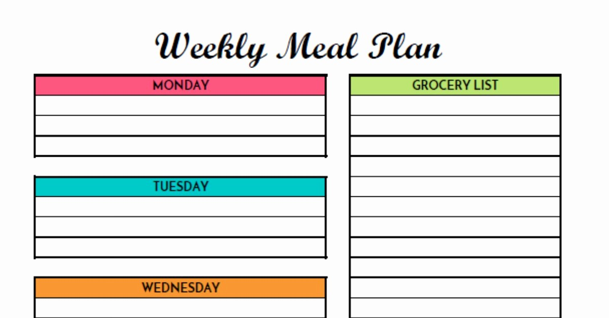 Weekly Meal Planner Templates Free Unique Free Weekly Meal Planning Printable with Grocery List
