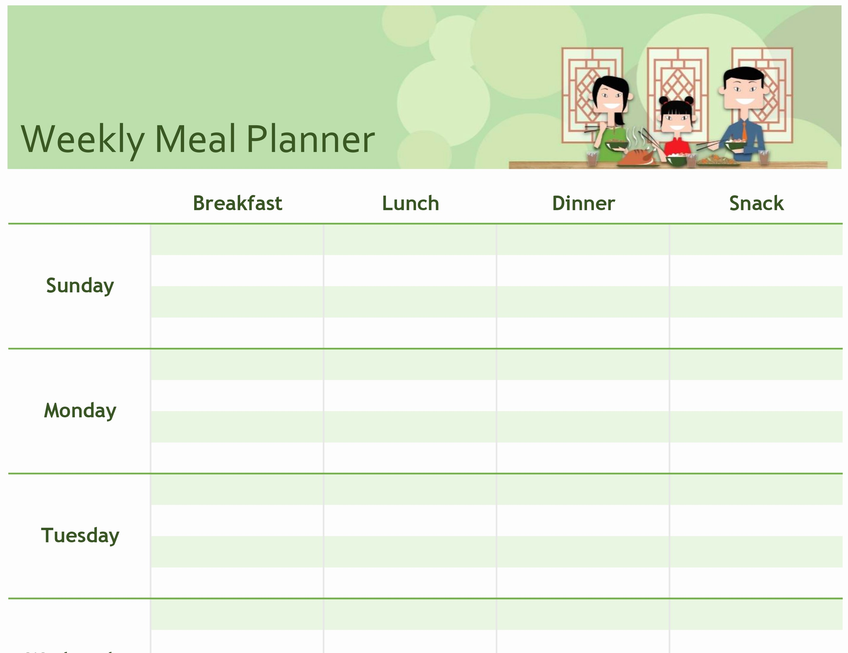 Weekly Meal Planning Template Free Awesome Excel