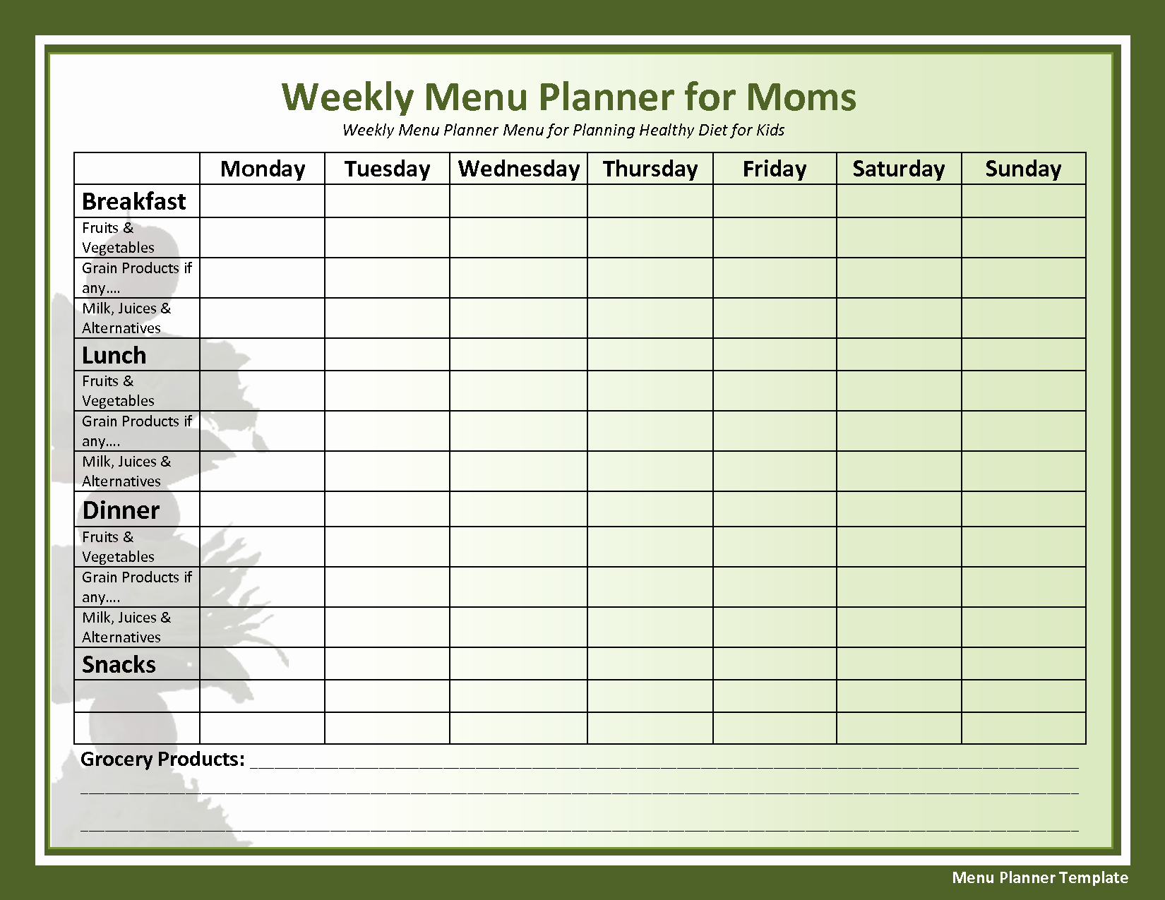Weekly Meal Planning Template Free Awesome Weekly Menu Template