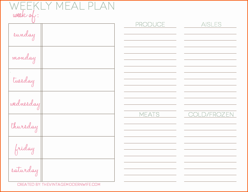 Weekly Meal Planning Template Free Beautiful 8 Weekly Meal Planner Template Bookletemplate