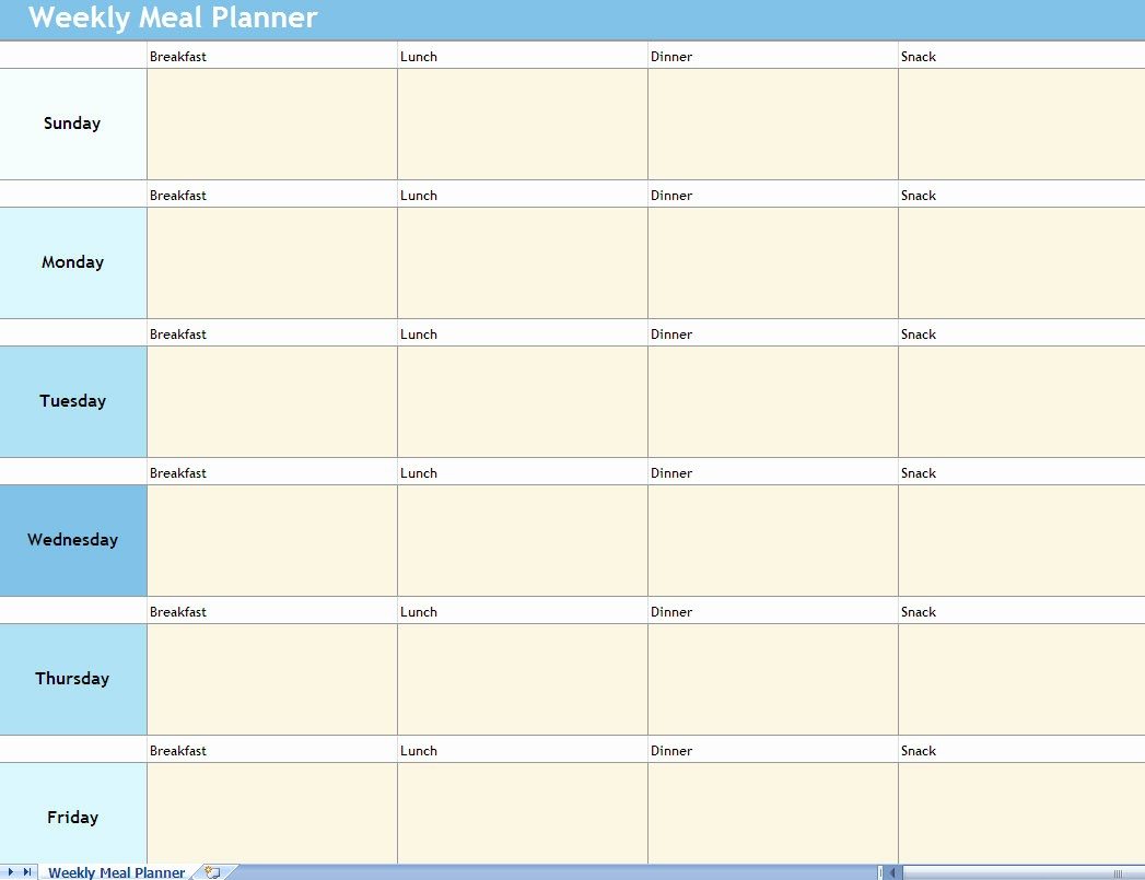 Weekly Meal Planning Template Free Best Of Weekly Meal Planner Excel Spreadsheet