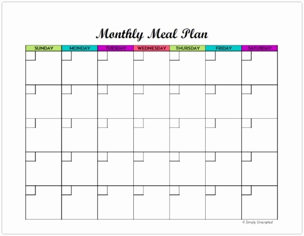 Weekly Meal Planning Template Free Elegant Free Monthly Meal Planner Printable Calendar Template for