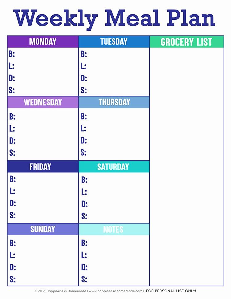 Weekly Meal Planning Template Free Elegant Printable Weekly Meal Planner Template Happiness is Homemade