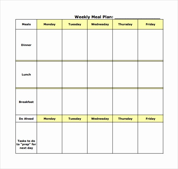 Weekly Meal Planning Template Free Lovely 18 Meal Planning Templates – Pdf Excel Word