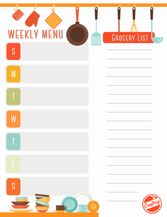 Weekly Meal Planning Template Free New Get A Free Printable Weekly Meal Planner On Craftsy