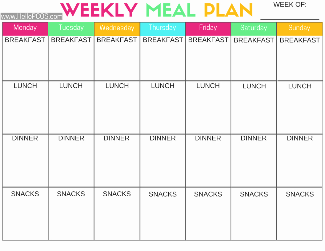 Weekly Meal Planning Template Free Unique Pcos Diet and Nutrition