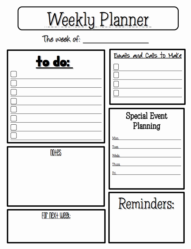 "Weekly Planner Template for Teachers Beautiful Free Misc Lesson ""weekly Planner"" Go to the Best Of"