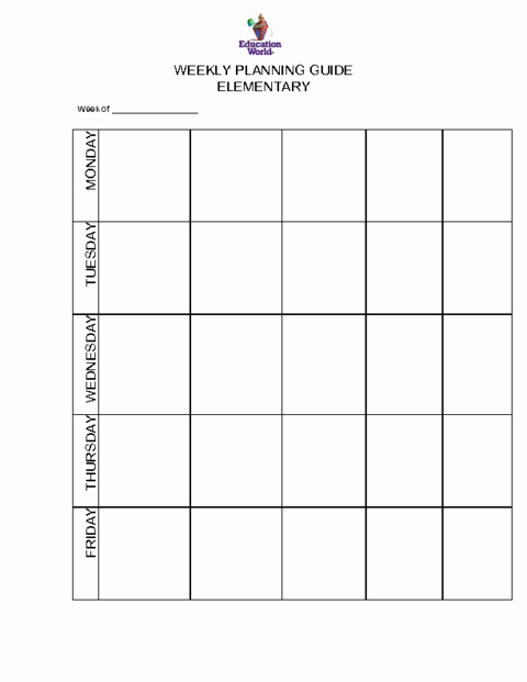 Weekly Planner Template for Teachers Fresh Elementary Weekly Planning Guide Template