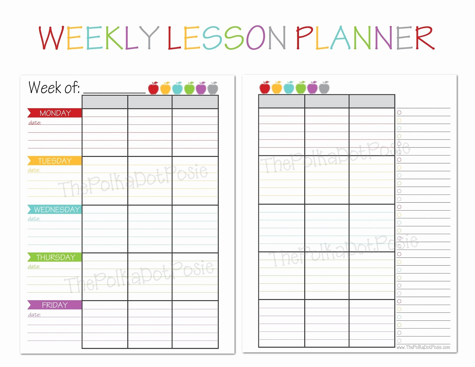 Weekly Planner Template for Teachers Inspirational the Polka Dot Posie New Teacher & Homeschool Planners