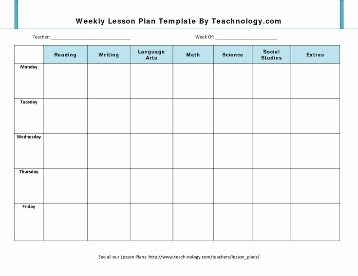 Weekly Planner Template for Teachers Luxury Blank Lesson Plan Template