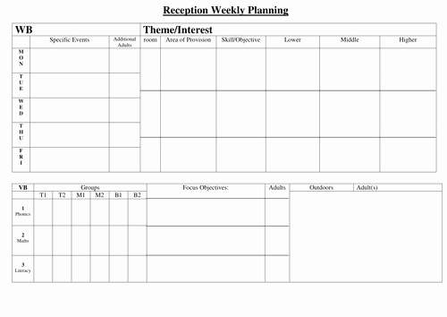 Weekly Planner Template for Teachers Luxury Weekly Planning Sheet Reception by Hyssop Puppy