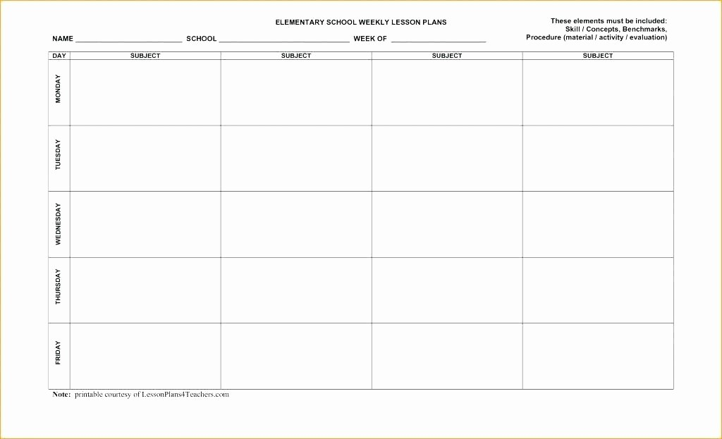 Weekly Planning Template for Teachers Inspirational 6 Week Lesson Plan Template 5 Day – Bbfinancialsfo