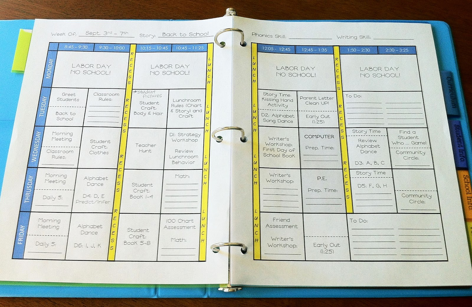 Weekly Planning Template for Teachers Inspirational the Teacher Wife How to Create Your Own Teacher Binder