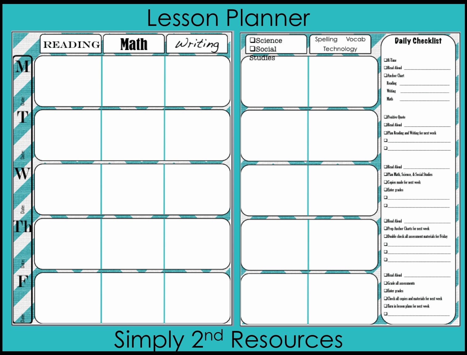 Weekly Planning Template for Teachers Lovely Simply 2nd Resources Throwback Thursday Linky