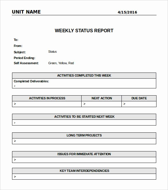 Weekly Project Status Report Templates Best Of Weekly Status Report Template