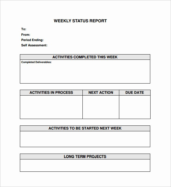 Weekly Project Status Report Templates Lovely 18 Sample Weekly Status Report Templates – Pdf Word