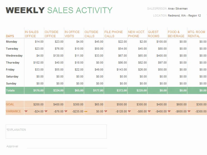 Weekly Sales Call Report Template Elegant Daily Sales Report Template format Example
