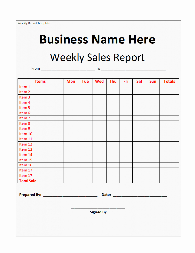 Weekly Sales Call Report Template Fresh Weekly Report Template