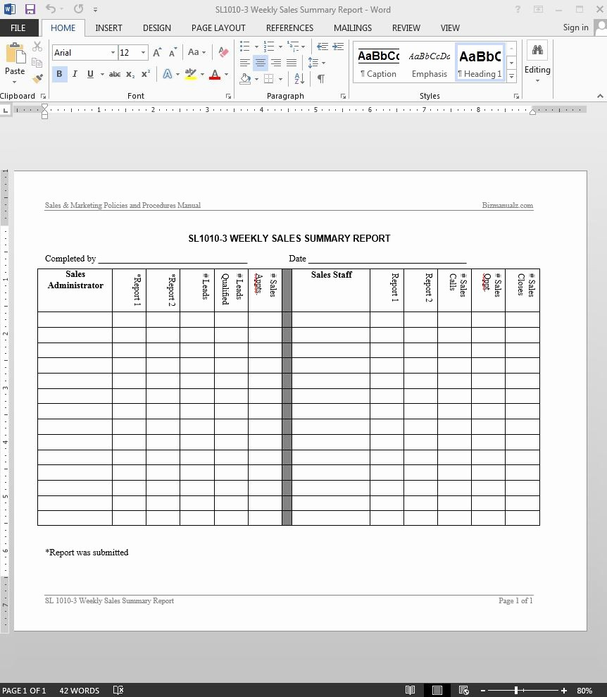 Weekly Sales Call Report Template Fresh Weekly Sales Summary Report Template
