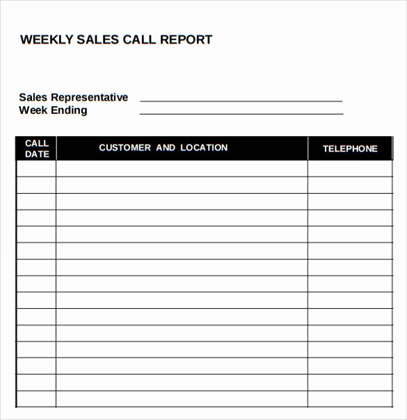 Weekly Sales Call Report Template Inspirational 14 Sales Call Report Samples
