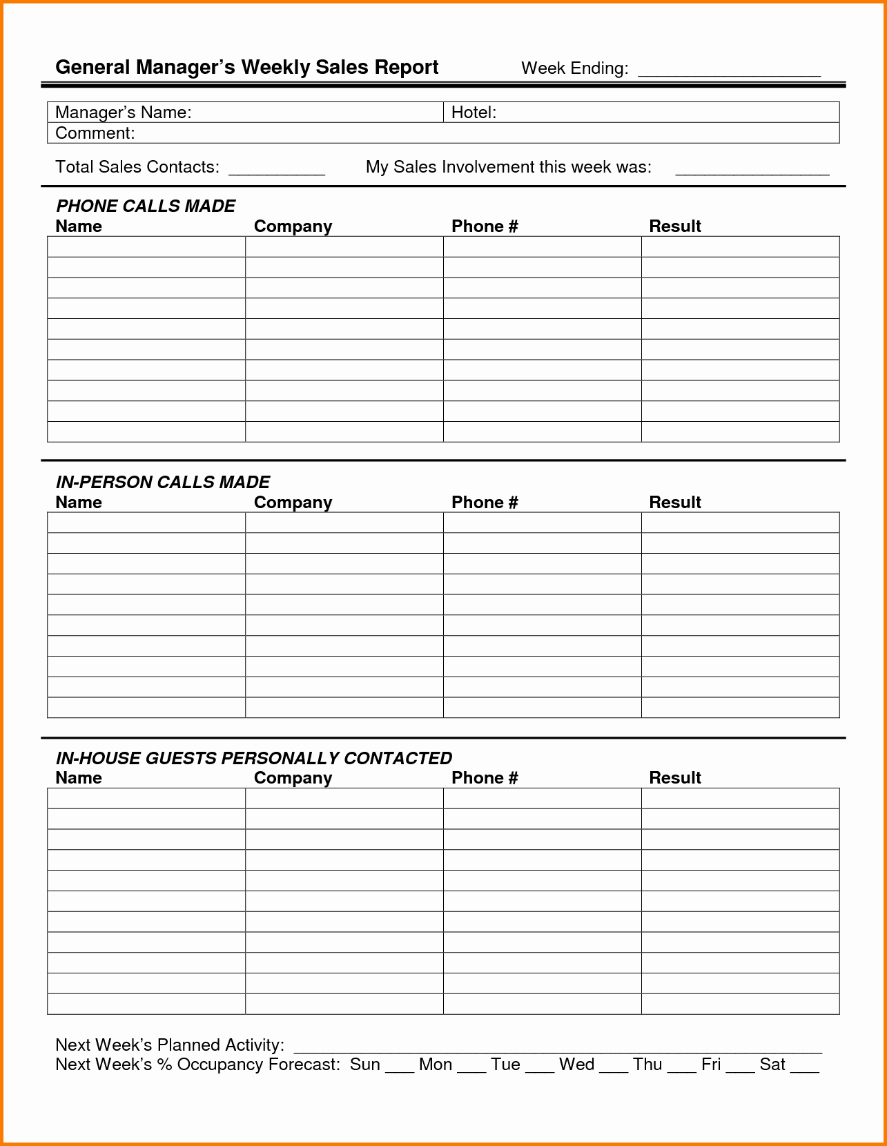 Weekly Sales Call Report Template Lovely 5 Sales Call Report Template