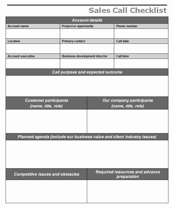 Weekly Sales Call Report Template Luxury Sales Call Checklist