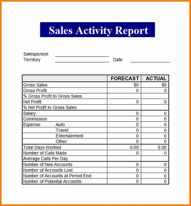 Weekly Sales Call Report Template New Sales Report Template