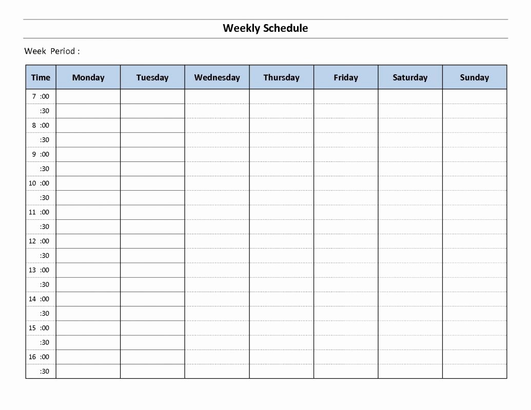 Weekly Schedule by Hour Template Best Of Weekly Hourly Schedule Template
