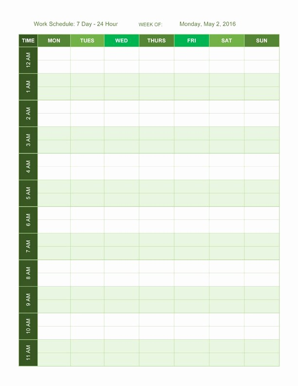 Weekly Schedule by Hour Template Lovely Free Work Schedule Templates for Word and Excel