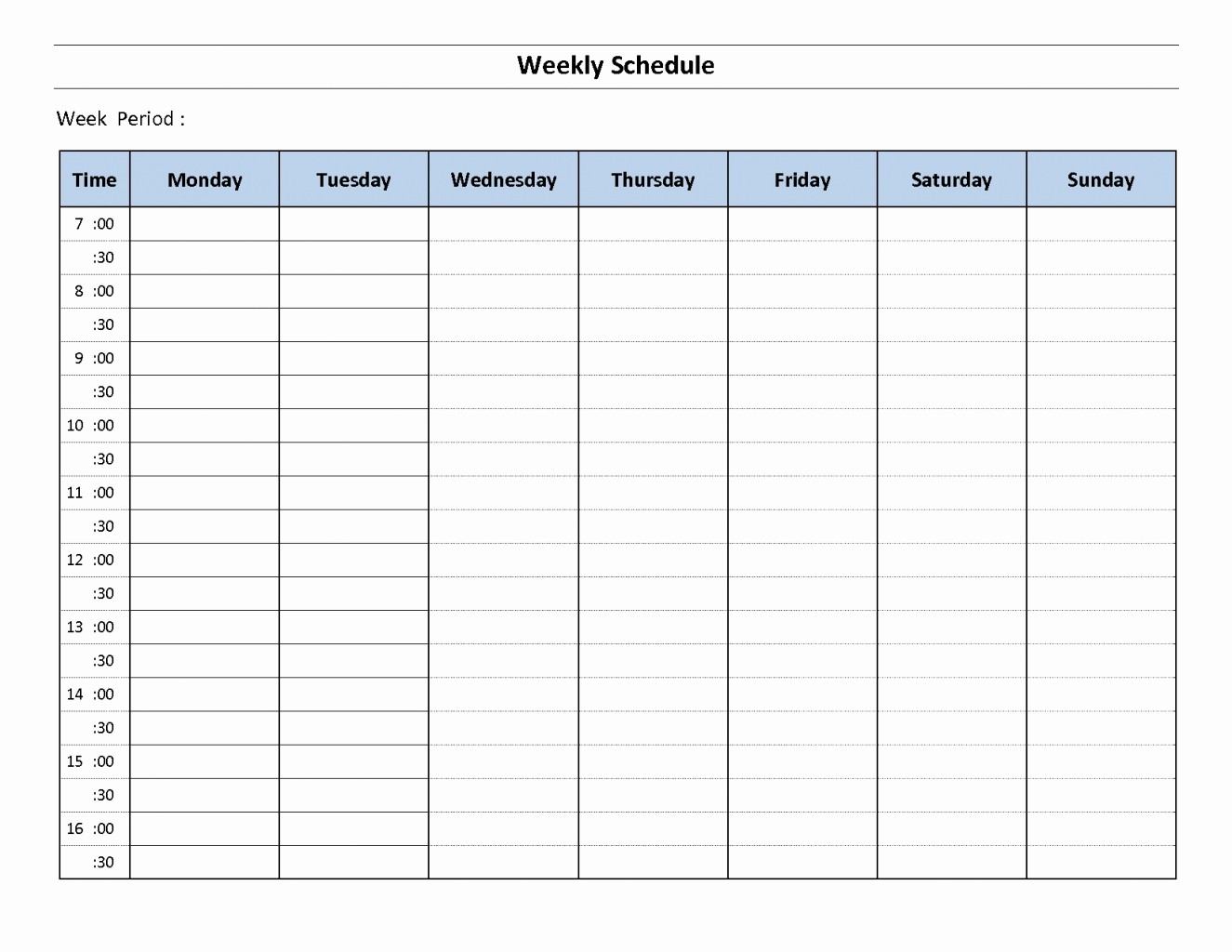Weekly Schedule by Hour Template Luxury Weekly Calendar with Hours Template