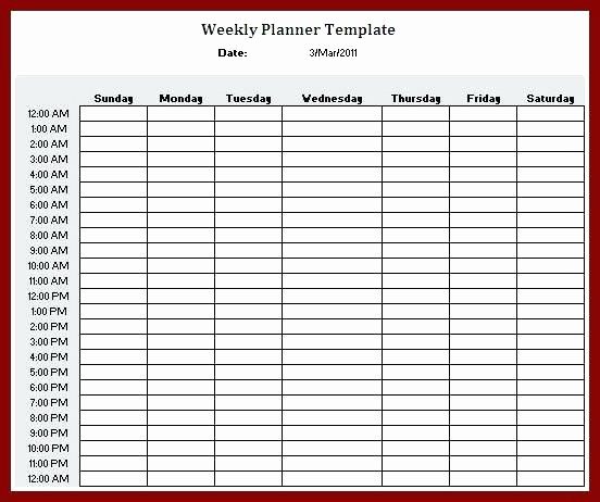 Weekly Schedule by Hour Template New Printable Weekly Hourly Schedule Template More Blank