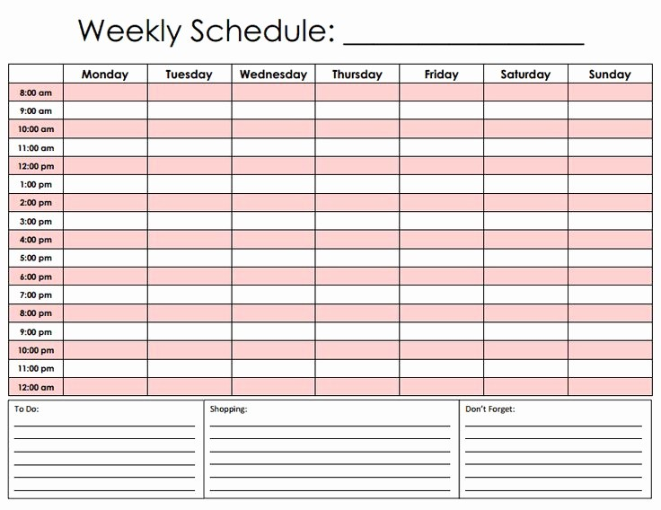 Weekly Schedule by Hour Template Unique 10 Best Of Printable Hourly Calendar Template