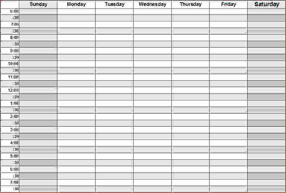 Weekly Schedule Template with Hours Elegant 8 Printable Weekly Calendar with Hours