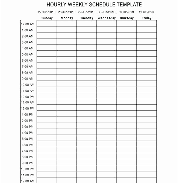 Weekly Schedule Template with Hours Fresh 24 Hour Schedule Template Download Employee Work Blank
