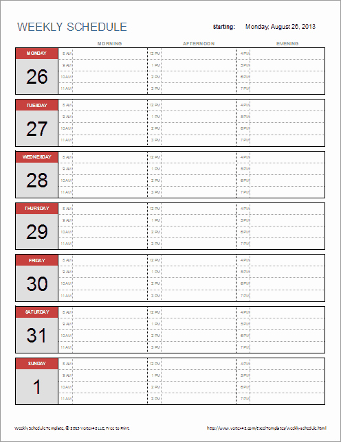 Weekly Schedule Template with Hours Fresh Free Weekly Schedule Template for Excel