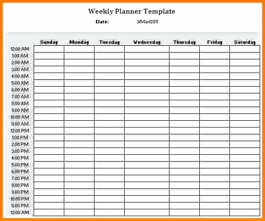 Weekly Schedule Template with Hours Inspirational Hour Weekly Calendar Template Schedule 24 Hr