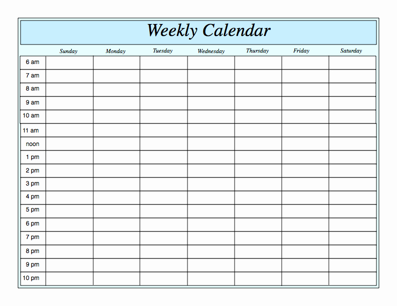 Weekly Schedule Template with Hours Inspirational Weekly Calendar by Hour