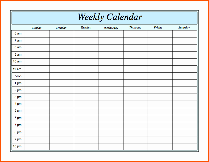 Weekly Schedule Template with Hours Inspirational Weekly Calendar with Hours