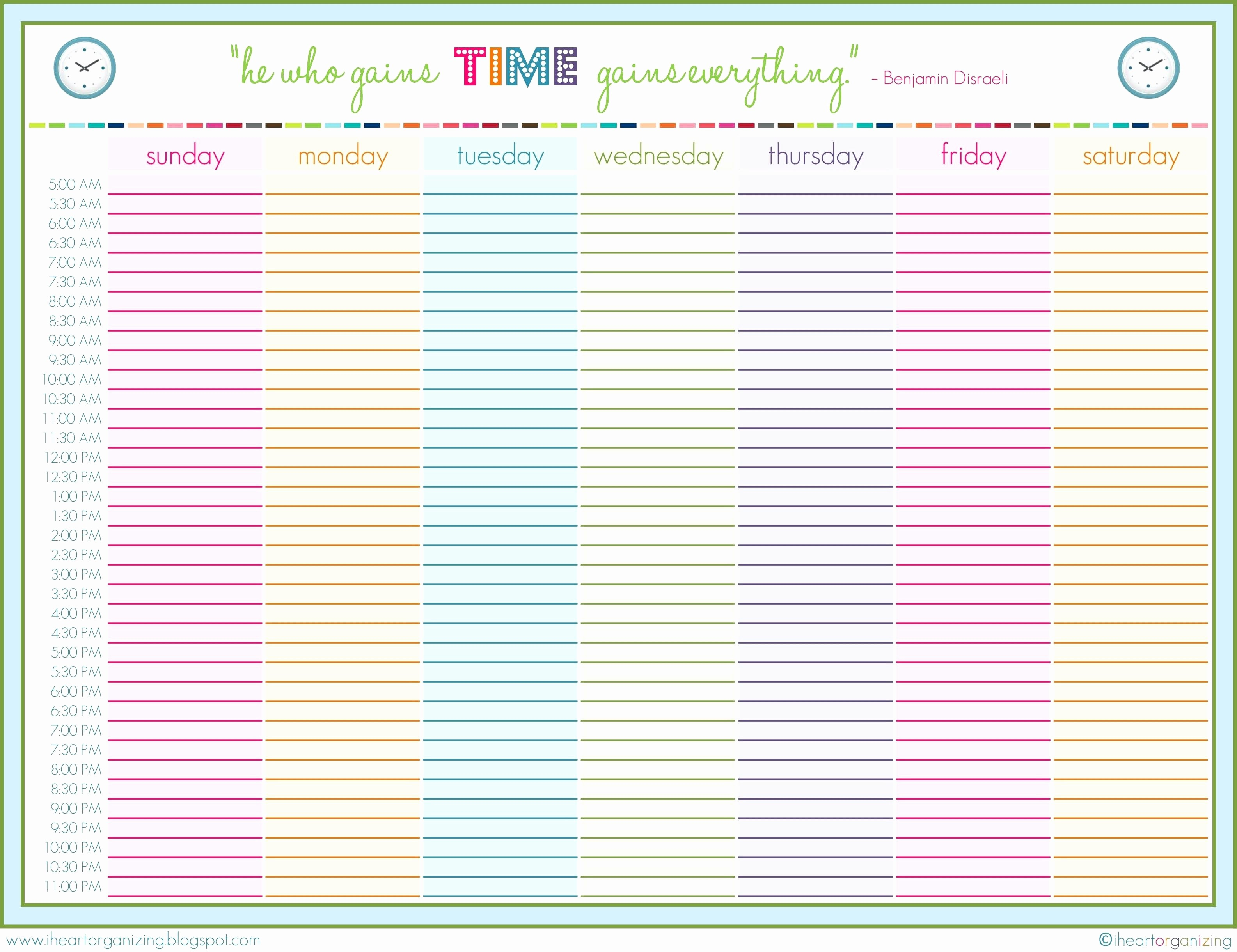 Weekly Schedule Template with Hours Unique 9 24 Hour Printable Schedule