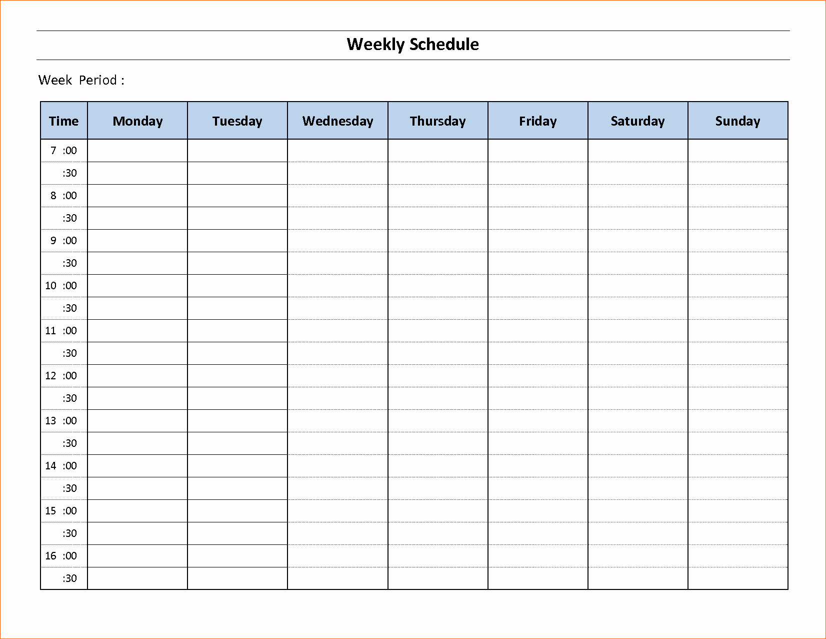 Weekly Schedule Template with Time Elegant 10 Free Weekly Schedule Template