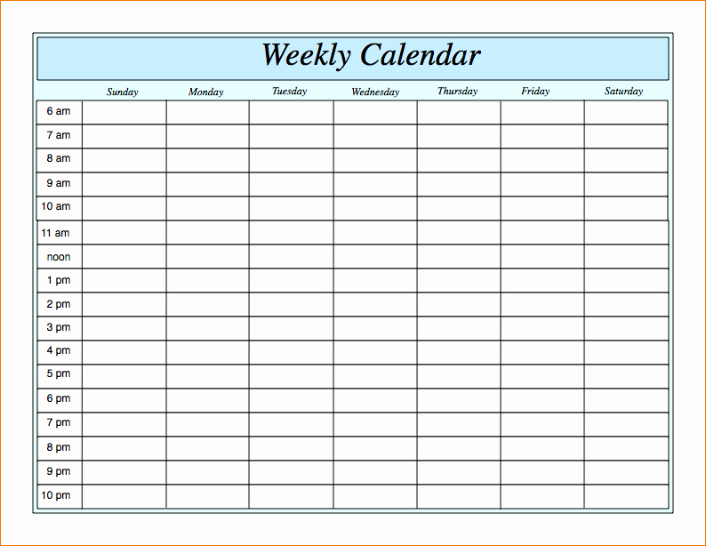Weekly Schedule Template with Time Elegant 3 Blank Weekly Calendar Template
