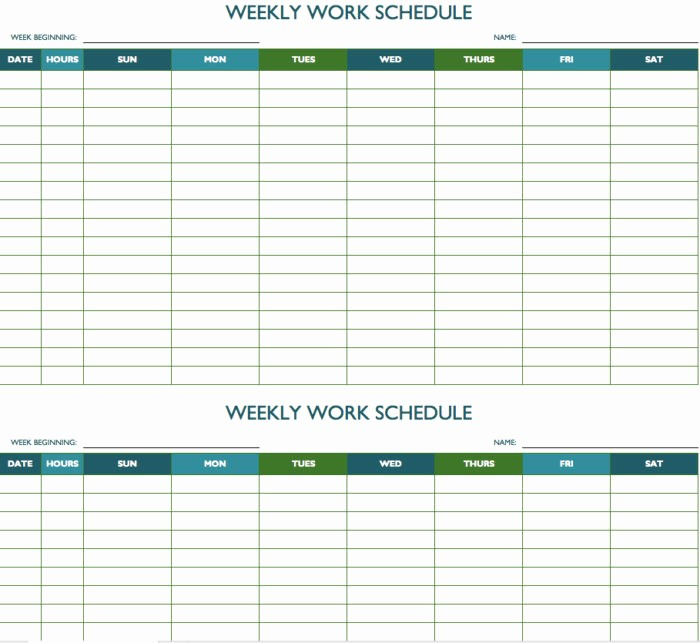 Weekly Schedule Template with Time Fresh Bi Weekly Employee Schedule Template Free Templates