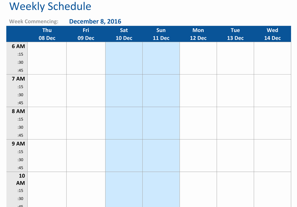 Weekly Schedule Template with Time Fresh December 2016 Weekly Schedule Template Word Pdf