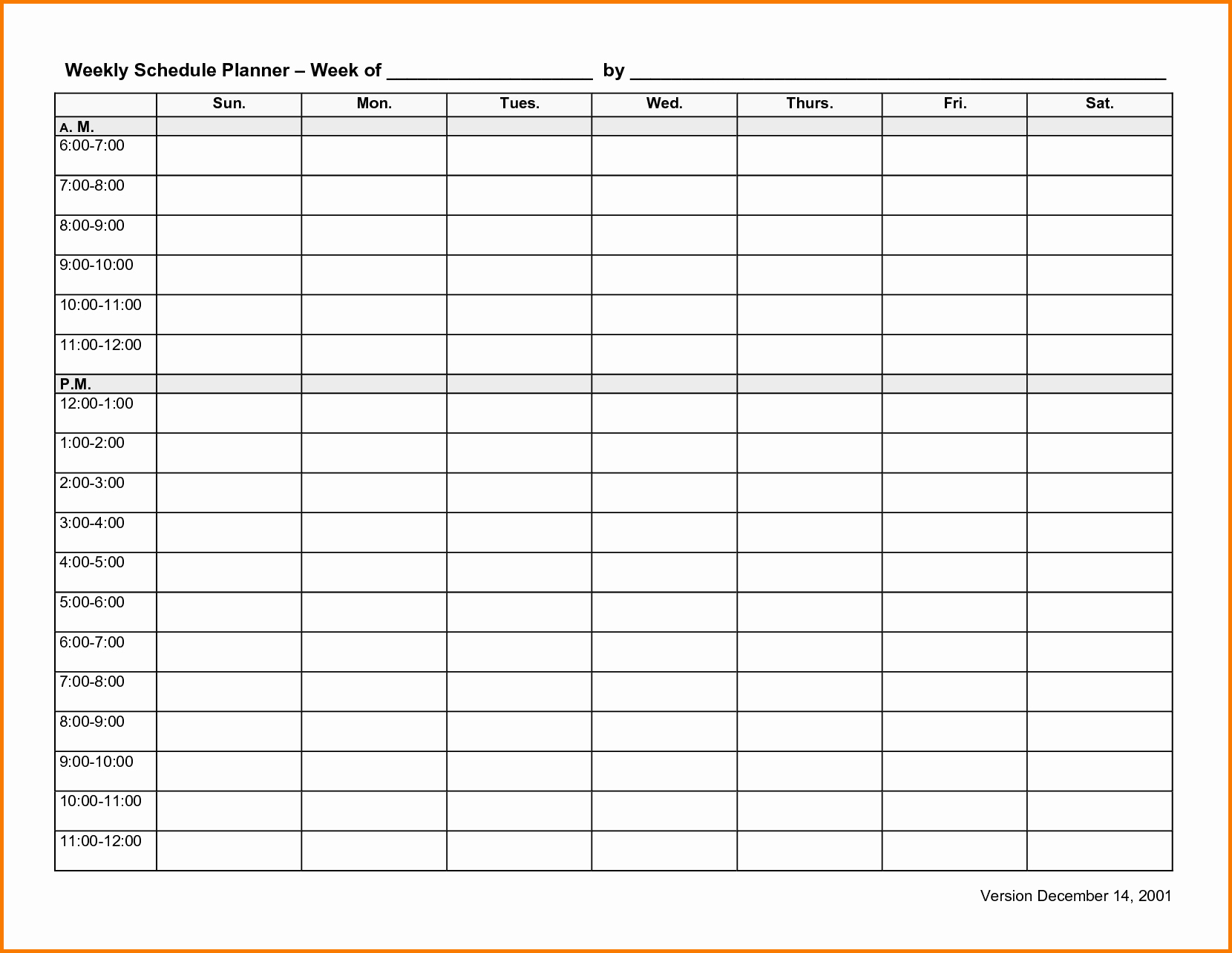 Weekly Schedule Template with Time New 6 Weekly Schedule Template