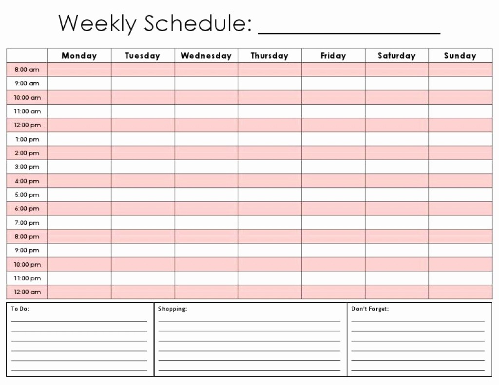 Weekly Schedule Template with Time Unique Daily Calendar