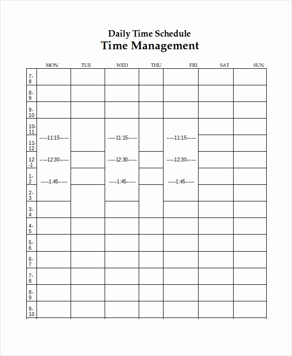 Weekly Schedule with Times Template Awesome 10 Daily Schedule Templates Printable Excel Word Pdf